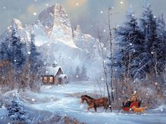 Coming Home - Bilder für Sie Christmas Scenes, Christmas Past, Christmas Pictures, Winter Christmas, Winter Szenen, Winter Time, Winter Painting, Thomas Kinkade, Snow Scenes