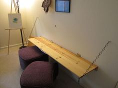 bench table lifts up & attaches to wall to create more space (& a secret chalkboard underneath.