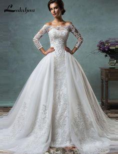 Custom Made Modest Detachable Skirt Amelia Sposa Wedding Dresses Off  Shoulder Long Sleeve Mermaid Bridal Gowns casamento eda7c0937253