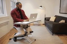 The Edge is an adjustable kneeling chair-desk that can be set up five different ways to adjust to various body shapes and sizes. This comfy chair-desk doesn't stress your body. You don't feel pain like you do after sitting on a couch or chair, slouching, for a long period of time. The Edge's unique design helps you maintain proper posture.