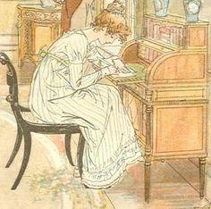 Woman at writing desk   Regency