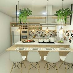 Kitchen Room Design, Kitchen Interior, Home Interior Design, Shelving, Sweet Home, Dining, Table, House, Furniture