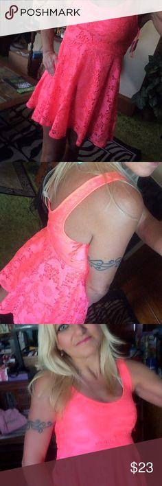 Aeropostale hot pink mini dress Aeropostale size small. Hot pink lace mini dress, fully lined. Great condition! Aeropostale Dresses Mini