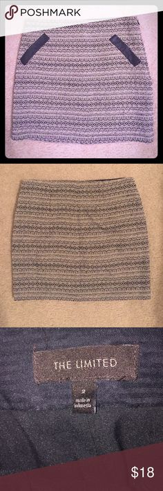 "The Limited Tweed (almost mini) Skirt Lined black and white Tweed skirt! Perfect with tights and boots! In mint condition. Has side zipper and hook enclosure. For reference I'm 5'4"" and it's about 2.5-3"" above my knee. For you taller gals, it'll be a mini skirt! The Limited Skirts"