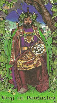 King of Pentacles, from the Robin Wood Tarot by Robin Wood. https://lifeofhimm.wordpress.com/2015/04/20/your-week-in-tarot-week-ending-april-26-2015/