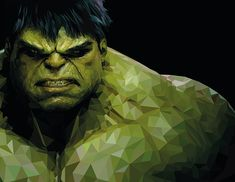 Hulk in lowpoly style realized on Illustrator and Photoshop. Art And Illustration, Mountain Illustration, Art Illustrations, Hulk Marvel, Marvel Comics, Paint Chip Art, Black Cat Marvel, Polygon Art, New Media Art