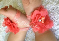 Coral Peach Baby Barefoot Chiffon Flower Sandals for Newborn Infant Baby or Toddler Girls, Bottomless Sandles, Clothes, Booties Socks Cute Baby Girl, My Girl, Cute Babies, Cute Kids, Daddys Little Girls, Sweet Girls, Baby Bows, Baby Headbands, Baby Olivia