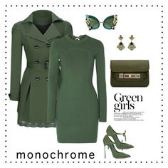 """Green is the new black"" by liubet80 ❤ liked on Polyvore featuring Casadei, Dolce&Gabbana, Proenza Schouler, Accessorize, WithChic, 3.1 Phillip Lim and Green Girls"
