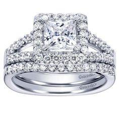 1.45cttw Princess Cut Halo Split Shank Diamond Engagement Ring with Prong Set Side Diamonds
