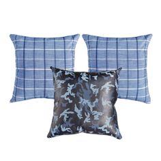 Blue Plaid & Blue Camo Leather Pillows Blue Camo, Blue Plaid, Blue Pillows, Throw Pillows, Skull Pillow, Leather Pillow, Black Skulls, Decorative Pillows, Indigo