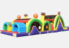 3 Mega Thrill Sports Theme,This Obstacle Challenge has, inflatables slide is available in different styles. High-visibility mesh all around.