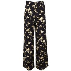 Miss Selfridge Yellow Floral Wide Leg Trouser ($12) ❤ liked on Polyvore featuring pants, assorted, yellow wide leg pants, flower print pants, miss selfridge, floral print wide leg pants and yellow pants