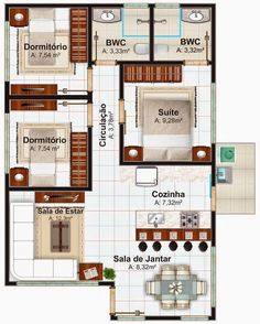 Small house plan with 3 bedrooms # minimalist Modern House Plans, Small House Plans, House Floor Plans, Home Design Plans, Plan Design, Design Ideas, The Plan, How To Plan, Apartment Plans