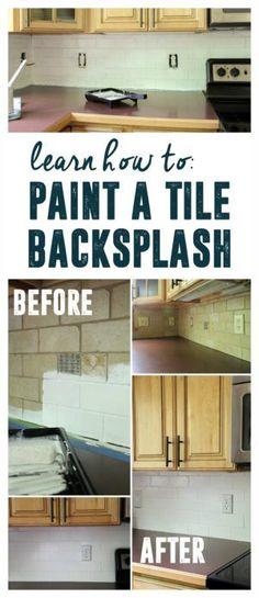 how to paint a tile backsplash - Painting Kitchen Tile Backsplash
