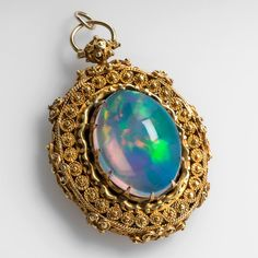 VICTORIAN ERA ANTIQUE JELLY OPAL LOCKET PENDANT W/ONYX SOLID 14K GOLD sku: wm6042 Only one available $15,999.00