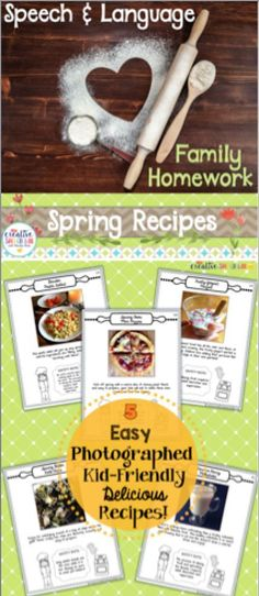 Fill your spring speech therapy homework folder with motivating recipes and activities that families will love to complete!