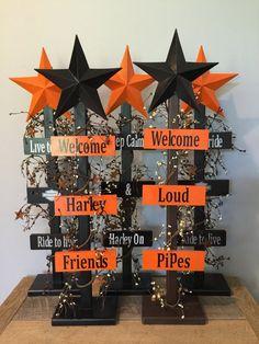 Harley Davidson welcome star tree home decor by BucksBarnWorks
