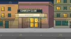 Outside A Comedy Club Background :  A strip along a road with different colored buildings a comedy club at the center paint walls and marquee lights glass doors with lights from the inside  The post Outside A Comedy Club Background appeared first on VectorToons.com.