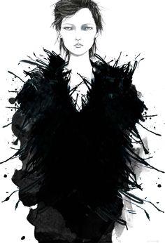 Fashion illustration - grunge glamour, stylish black & white fashion drawing // Tracy Turnbull