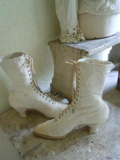 white victorian boots