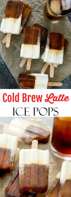 These cold brew coffee latte ice pops have a layer of sweetened cold brew coffee and a layer of sweetened cream. Iced Latte, Coffee Latte, Frozen Desserts, Frozen Treats, Other Recipes, My Recipes, Flavor Ice Pops, Iced Coffee Drinks, Wholesale Coffee