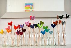 Hearts in mason jars! Doing this today...but I am using paint swatches instead.