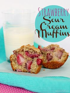 Strawberry Sour Cream Muffins -  A healthy, delicious way to start your day!