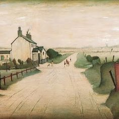 A Country Road, by Laurence Stephen Lowry Watercolor Landscape, Landscape Paintings, Watercolor Art, Landscapes, Watercolor Architecture, Watercolour Paintings, Watercolours, Salford, Maurice Utrillo