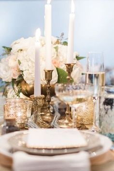 Gold wedding table - just beautiful! Reception Decorations, Wedding Centerpieces, Wedding Table, Table Decorations, Centrepieces, Candlestick Centerpiece, Candlestick Holders, Dream Wedding, Wedding Day