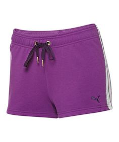 Take a look at this Sparkling Grape & White Form Stripe Shorts by PUMA on #zulily today!