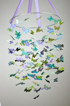 Purple Garden Butterfly Mobile by littledreamersinc on Etsy, $68.00
