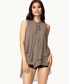 Blusa Sin Mangas Color Aceituna Forever 21.