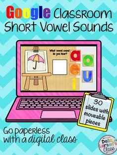 Google classroom ideas for teaching vowels. Interactive activity to increase phonics skills. A great strategy for increasing reading fluency.