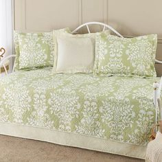Freshen your multi-use guest room by dressing the daybed in this Laura Ashley Rowland 5 Piece Daybed Quilt Set . This comforting cotton daybed quilt. Daybed Comforter, Ruffle Bedding, Comforter Sets, Green Comforter, Damask Bedding, Floral Bedding, King Comforter, Daybed Cover Sets, Daybed Sets