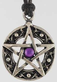 "Formed in the shape of an interwoven pentagram and set with a glittering colored jewel at its center, this 1 1/8"" in diameter lead-free pewter talisman has been charged to magically strengthen the protective barriers you have already developed to ward away harm, without putting up any walls against the beautiful and exciting aspects of life at the same time! This talisman comes with a black leather thong to wear it upon, with various colored jewels set into its center, and has been mad $5.95"