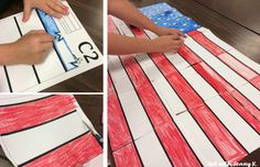 FREE American flag mosaic poster! Try out this sample collaborative classroom poster with your students for Memorial Day. See how much they enjoy this kids craft art activity. A fun and easy art lesson for May from Art with Jenny K.