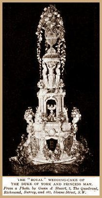 The Royal Wedding Cake of the Duke of York and Princess May.  It took the royal confectioner five weeks to make.