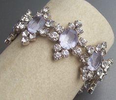 "Vintage Kramer Faux ""Alexandrite"" Color Change Rhinestone Bracelet"