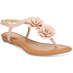 Rampage Dandylion Flat Sandals ($35) ❤ liked on Polyvore featuring shoes, sandals, blush, t strap shoes, rose shoes, blossom shoes, t-bar sandals and flat sandals
