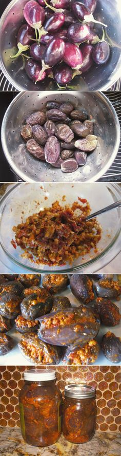 Makdoos   Baby Eggplant Pickles with Walnut + Roasted Red Pepper
