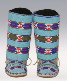 Crow Woman's Beaded Moccasins and Leggings, early Native American Moccasins, Native American Clothing, Native American Artwork, Native American Fashion, Indian Beadwork, Native Beadwork, Native American Beadwork, Native American Indians, Native Americans