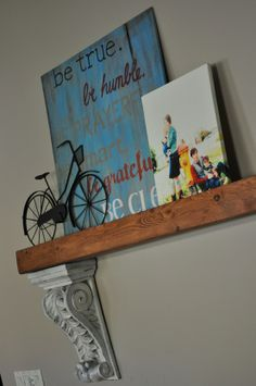 diy shelf using corbels and a 2x...I would want it deeper, but I love this!