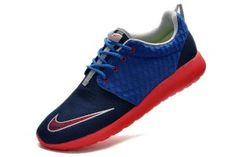 Pour Homme Chaussures Running Nike Roshe Run FB Bleu Marine/Rouge Soldes Pas Cher France Original