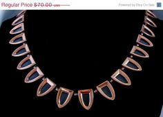 ON SALE Renoir Matisse signed Copper Necklace  with by Ladysfancys, $56.00