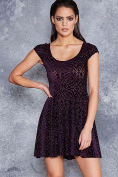 Burned Velvet Aubergine Evil Cheerleader Dress - LIMITED ($120AUD) by BlackMilk Clothing