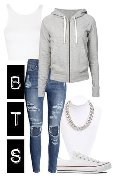 """BTS I need you girl inspired outfit"" by alinamauh ❤ liked on Polyvore featuring Topshop, H&M, Converse and James Perse"