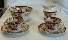 Real-Albert-Corona-China-2-cups-platillos-azúcar-bol-jarra de leche-Set