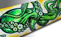 Custom Skateboard Art  Lime Green Octopus Painting  by SAXONLYNN, $325.00