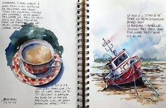 Croquiscarnets de voyage et aquarelle Stage de croquis en ligne Sketching travel journals and watercolor online workshop Voyage Sketchbook, Travel Sketchbook, Moleskine, Sketching Tips, Urban Sketching, Watercolor Sketchbook, Art Sketchbook, Watercolour, Travel Journal Pages