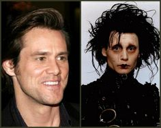 Jim Carrey was considered to play the role of Edward Scissorhands before it was finally passed up on to Johnny Depp but after he turned it down the role went to Johnny Depp and practically made him famous. Movie Plot Holes, Edward Scissorhands, Jim Carrey, Johnny Depp, Comedians, The Man, Beautiful Men, Fun Facts, How To Memorize Things